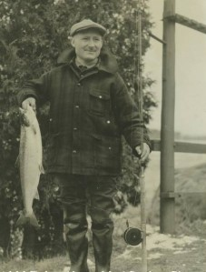 Angler Adolf Fischer with the Presidential Salmon of 1948. Bangor Daily News photo courtesy of Ed Baum.