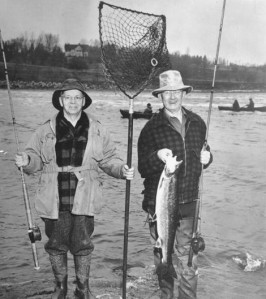 Horace Bond (left) and Harry Colburn (right) with the 1951 Presidential Salmon. Bangor Daily News photo, courtesy Ed Baum