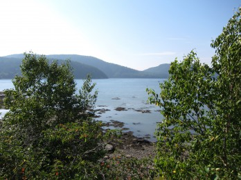 View over Somes Sound, Mount Desert Island, mountains in background.